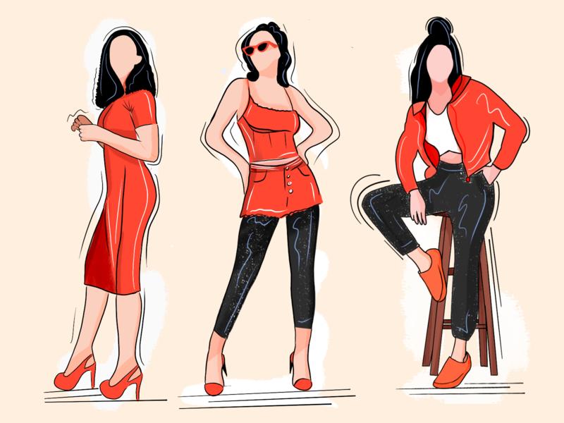 Fashion illustration minimal modern iphone x ux ui app fashion app clothes retail fashion vector branding illustration