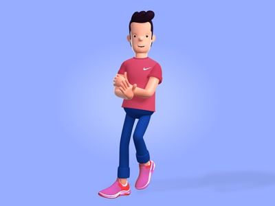 Hello Dribbble nike 3d model 3d character design uiux branding illustration 3d art 3d
