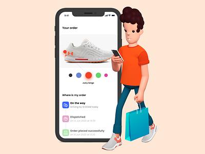 Shopping on the go ux ios minimal ui branding illustration app shopping app ecommerce shopping model 3d character design 3d character 3d
