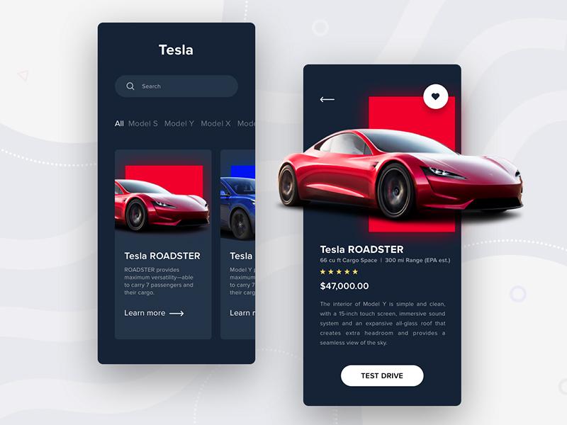 Tesla app inspiration electric car card design application test drive roadster ux uiux ui cards ui dark ui cards slide bitcoin electric card red tesla art app