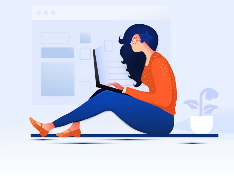 Online shopping illustration landing buy girl minimal colour art laptop desktop dashboard plants model business chatting shopping ecommerce online illustration branding website app