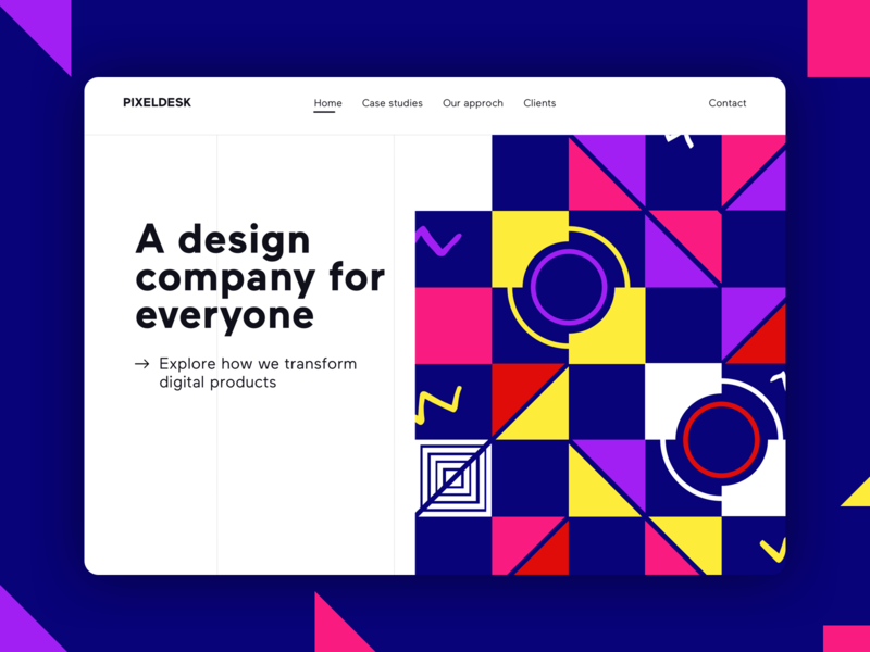 Website landing page design concept agency logo purple blue shapes pattern graphic minimal colour branding design branding ui ios hero landing design website
