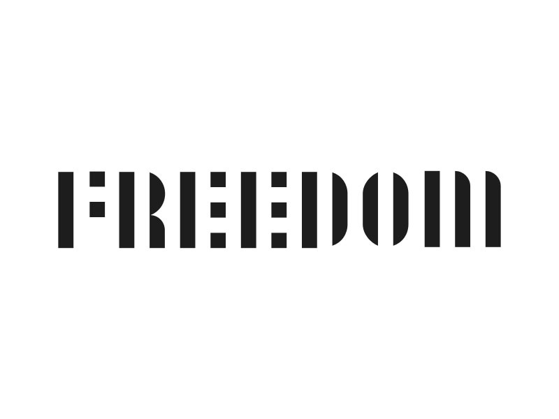 Freedom white black prison bars type