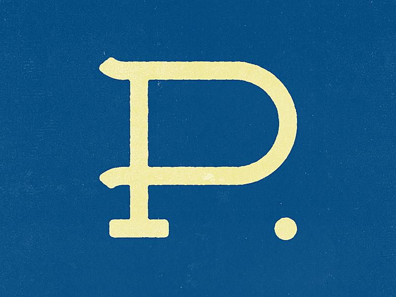 P monogram gold blue monogram typography p