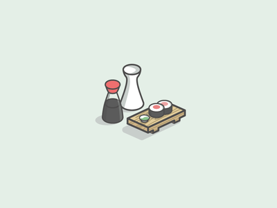 Sushi Set illustration sushi set sake soy sauce wasabi japanese food sushi