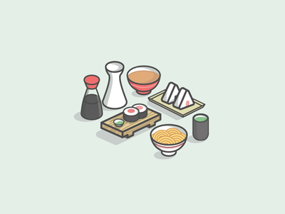 Japanese Food Set  onigiri miso sake vector illustration icons matcha tea ramen soy sauce sushi food