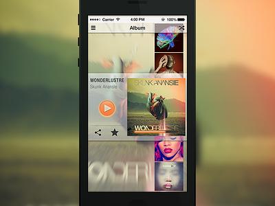 UI Music Player [VIDEO] ui ux design app interface music player iphone animation video play album