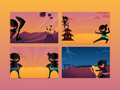 Ninja banners vector character design colours trophy fight design illustration banner ninja