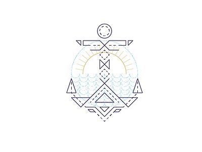 Anchor line art sun geometric icon design sailor nautical icon sea anchor