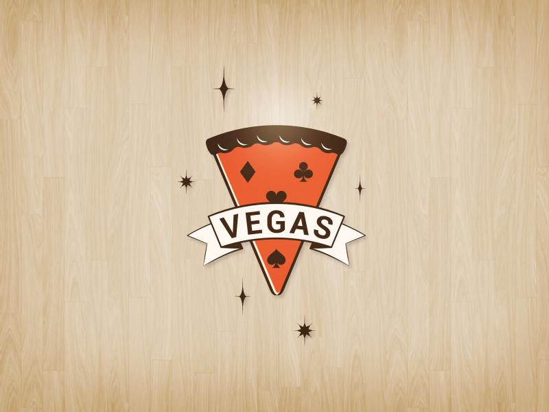Vegas Pizza pizza vegas las vegas shop logo identity branding mark vector wood graphic red spades hearts diamonds clubs
