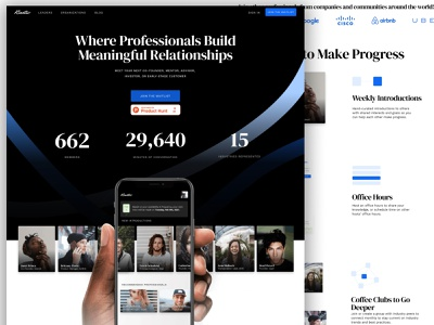 Kinetic - Where Professionals Build Meaningful Relationships landing page design website design social network landing page website marketing site ui networking