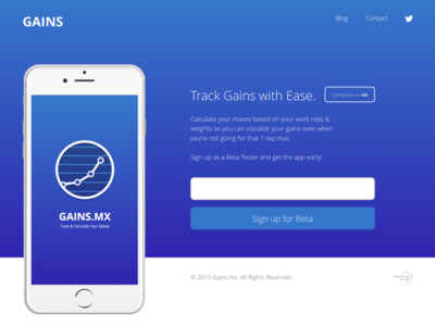 GAINS iOS Landing Page