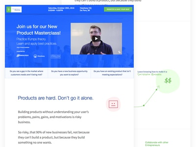 New Product Masterclass Website jtbd jobs to be done lean startup user experience site marketing website marketing site product management ux validation new product masterclass
