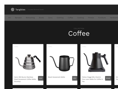 Tangibles - Collection View coffee design minimalism ecommerce app ecommerce black web gray white ui