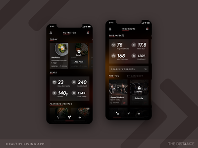 Healthy Living App workouts gym fitness living healthy mobile ux ui thedistance td distance design app