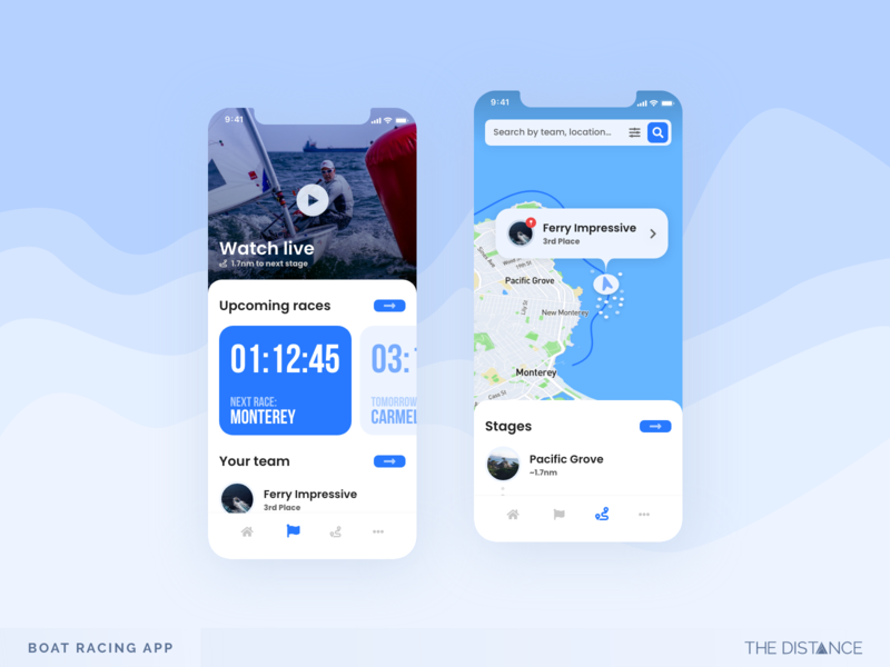 Boat Racing - Monterey monterey blue race boat sea mobile distance adobexd thedistance ux ui td design app
