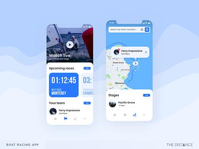 Boat Racing - Monterey monterey blue race boat sea mobile distance adobexd thedistance ux ui td design app