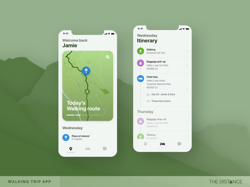 Outdoor Explorer itinerary route hiking trip holiday map navigation walking adobe mobile adobexd thedistance ux ui td design app