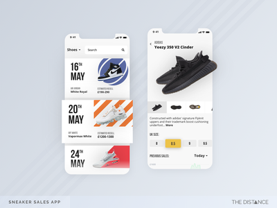 Sneaker Releases trainers shoes sneakers mobile adobexd the distance ux ui td design app