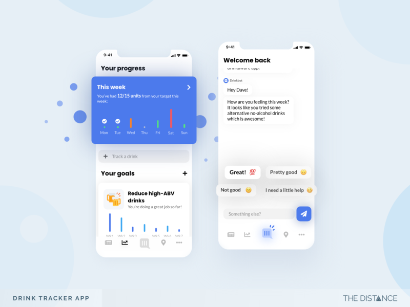 Drink Tracker App chat app safety drink goals chatbot mobile adobexd thedistance ux ui td design app