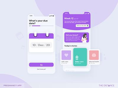 Pregnancy App mobile baby shower tracker pregnancy pregnant baby adobexd the distance ux ui td design app