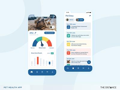 Pet Health App mobile stress health animal pets adobe xd ui ux thedistance design