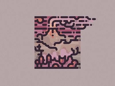 minimalistic landscape 4 5 smoke sand lava eruption volcano mountain sun tree wood lines line  art geometric