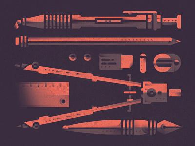 drawing-equipment ink  pen sharpener ruler dividers eraser pen shades equipment drawing flat design geometric