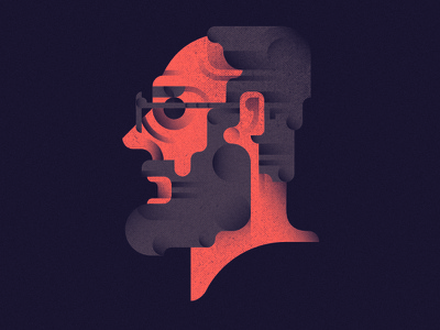 Eric Gill portrait illustration eric  gill shades flat design geometric