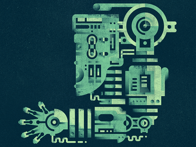 part of an old android android old texture bolt machine mechanic hand robot flat  design geometric
