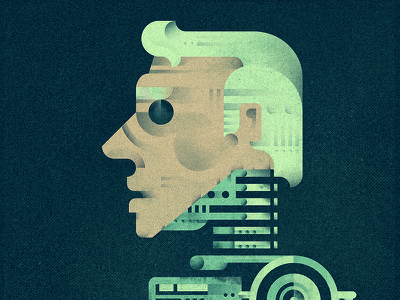Human or not? human man android old texture bolt machine mechanic hand robot flat  design geometric