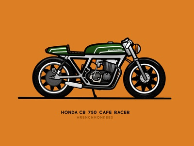 CB 750 - Cafe Racer - Wrenchmonkees cb 750 honda monkees wrench dream motorcycle clean lines vector rebound cafe racer