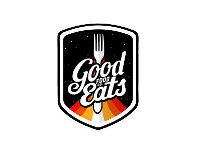 Good Eats Concept - Food Brand Logo branding good eat space fork logo minimal shield clean lines wip