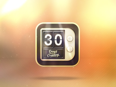 App icon - Daily UI - 005 / 100 retro clock lighting color play overlay 005 reflection button daily ui counter icon app