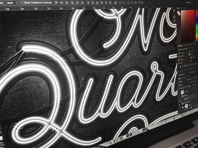"""Neon """"No Quarter Given"""" (Process) 015-365 Type process light grunge 365 script sign photoshop typography type neon"""