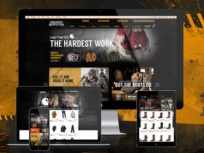 Country Outfitter Men's Rebrand - Site Design splatter work tough ecommerce boots branding men grunge user interface web design ux