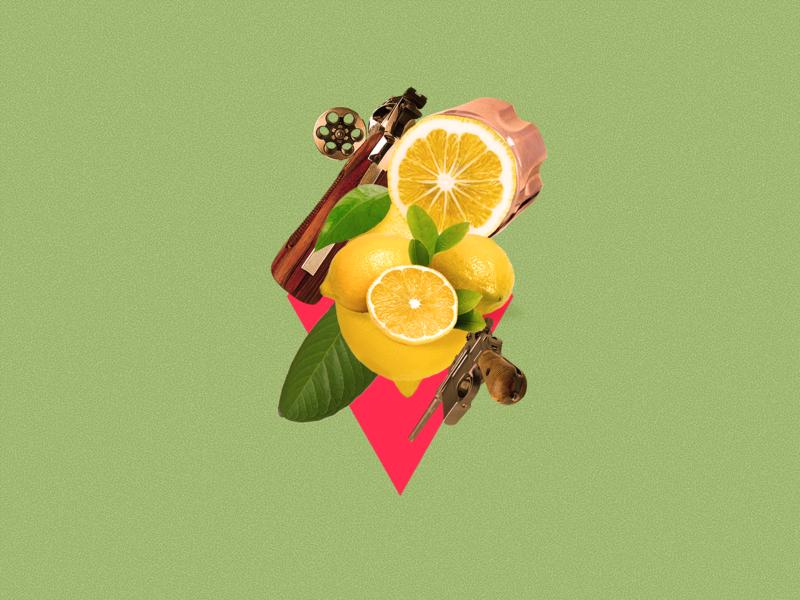 Lemon Mafia editorial art collage sicily gun mafia lemon