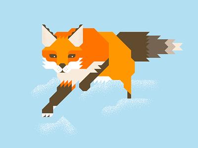 Fox2 illustration vector minimal orange brown fast fox animal grid