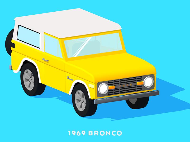 1969 Bronco - now in 3D bounce vintage bronco rebound illustration c4d 3d