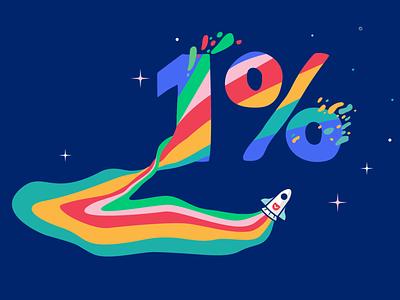 One Percent Club rocketship rainbow creatives illustrator womenofillustration illustration