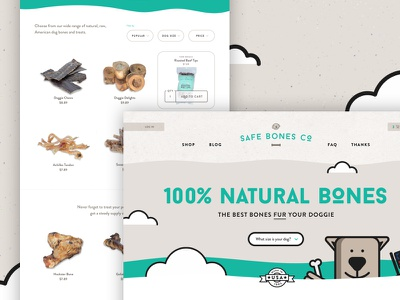 Safe Bones Co. Website Concept treats website store e-commerce abstract fun approachable friendly illustration bones dog playful