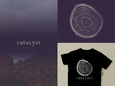 Catalyst tree rings texture purple logo serif tee t-shirt tree trunk change growth branding