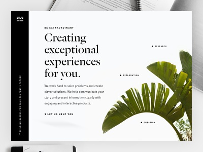 Bold Crisp Hero cohesive typography contrast bold clean engaging hierarchy plant hero bullets white website