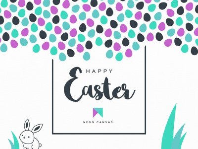 Happy Easter illustration typography eggs holiday bunny green purple easter