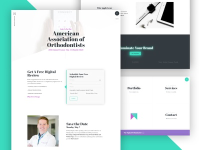 AAO Landing Page cta hero form neon footer navigation website orthodontist bright green