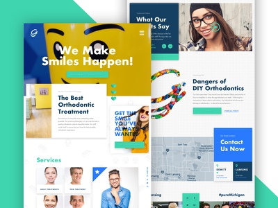 Orthodontist Website fun bright illustration website navigation testimonial legos orthodontist hero blog preview