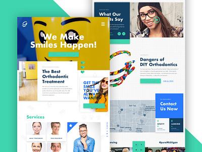 Orthodontist Website fun bright illustration website navigation testimonial legos orthodontist hero blog preview