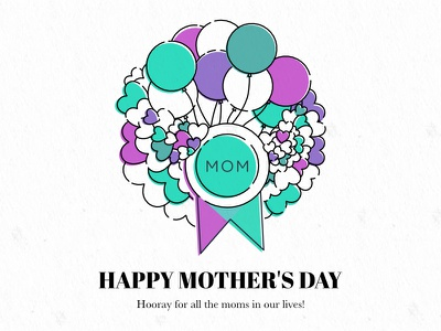 Happy Mother's Day illustration hearts badge balloons graphic mothers day