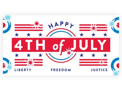 Happy Fourth of July freedom fireworks stripes stars graphic blue white red independence day holiday american america