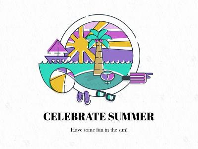 Celebrate Summer umbrella water ocean sunset sandals letterpress illustration sun island summer